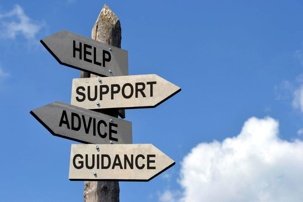 sign with message, help support, advice, guidance